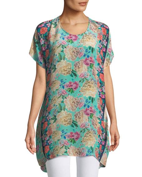 Tiffany Short-Sleeve Long Silk Floral Tunic , Plus Size