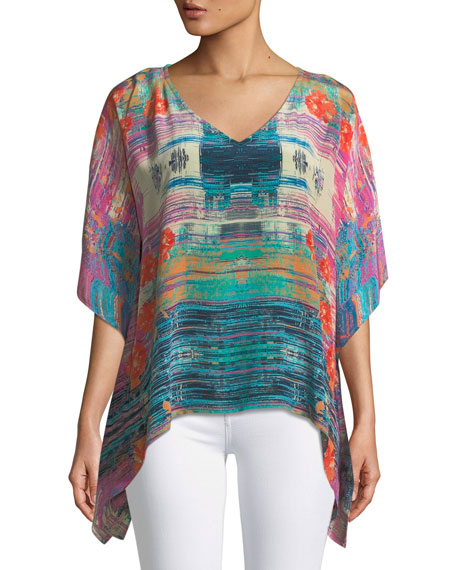 Briyana Watercolor-Print Silk Tunic Top, Plus Size