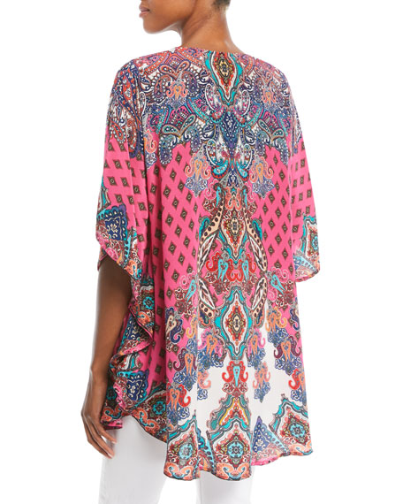 Narissa Printed Silk Tunic , Plus Size