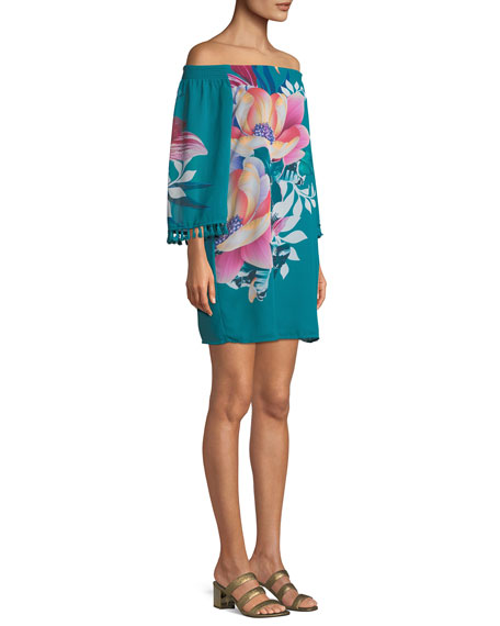 Amaris Photo Collage Floral Mini Dress w/ Tassels