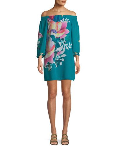 Amaris Photo Collage Floral Mini Dress w/ Tassels