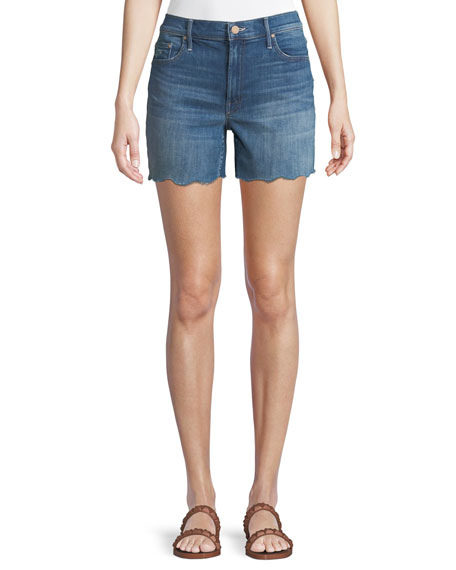 MOTHER Sinner Frayed Denim Shorts