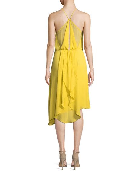 Sleeveless Flowy Draped-Back Cocktail Dress
