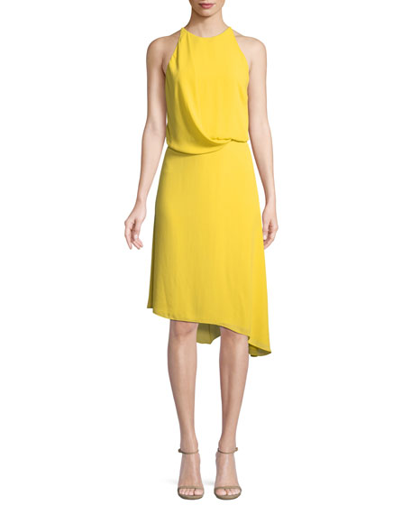 Halston Heritage Sleeveless Flowy Draped-Back Cocktail Dress