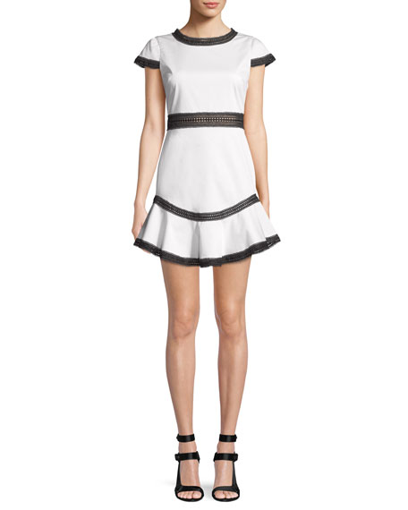 Alice + Olivia Rapunzel Curved-Hem Lace Trim Mini