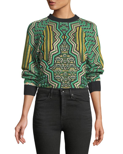 Graphic Jacquard Crop Top