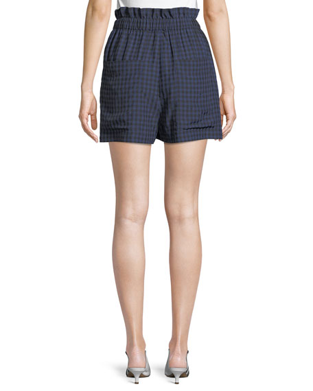 Image 2 of 3: Gingham-Print Ruffle Pull-On Shorts