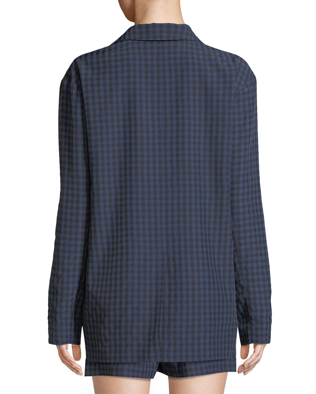 1b2635b360701 Tibi Gingham-Print Oversized Two-Button Blazer | Neiman Marcus