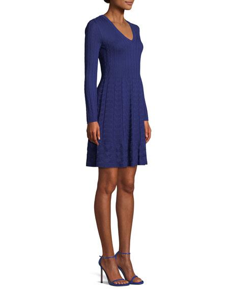 V-Neck Solid Knit Dress