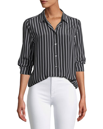 Essential Excellence Striped Silk Button-Front Shirt
