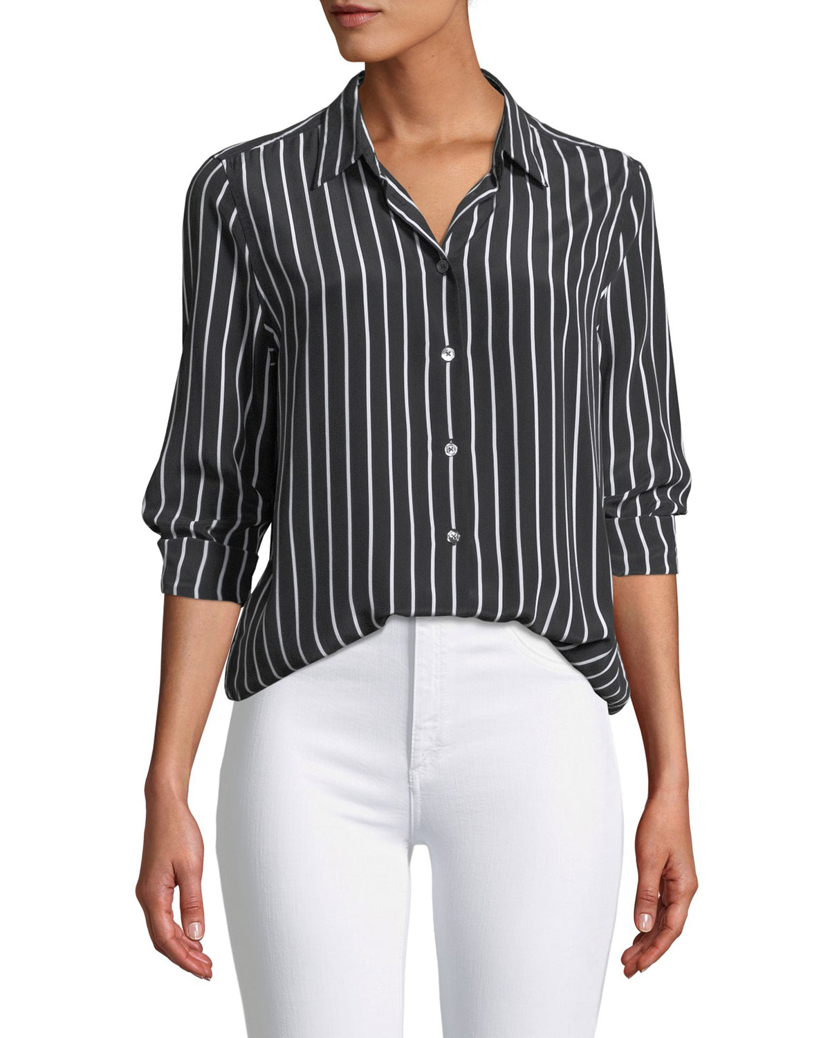 9a72635fc1945 Equipment Essential Excellence Striped Silk Button-Front Shirt ...