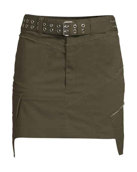 Belted Military Patch Mini Skirt