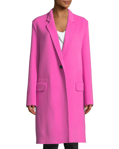 Double-Face One-Button Wool Blazer Coat