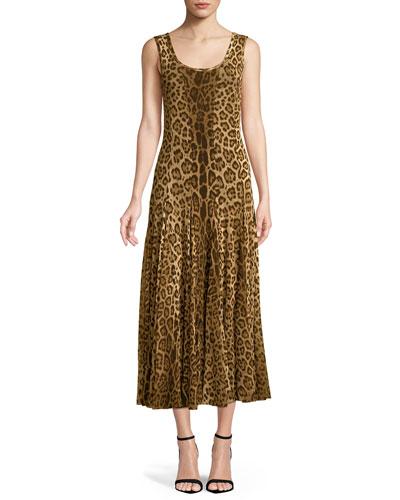 Scoop-Neck Animal-Print Tank Dress