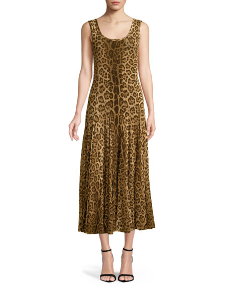 Scoop-Neck Animal-Print Tank Dress