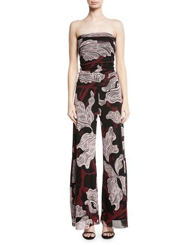 Strapless Vino-Print Tulle Jumpsuit