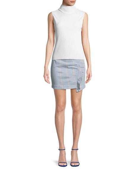 3x1 Jane Striped Ruffle Mini Skirt