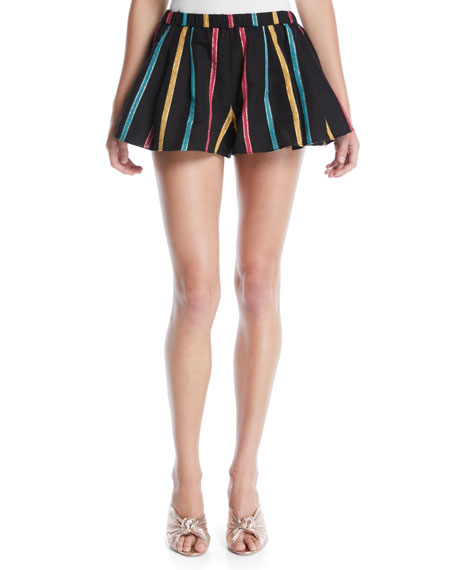 Striped Pleated Pull-On Shorts