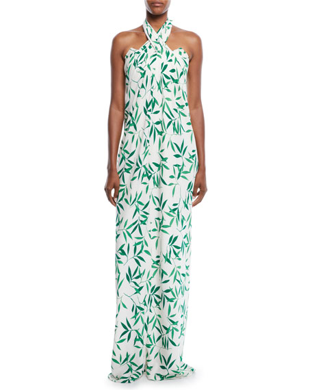 Kaia Striped Ruffle Popover Maxi Dress