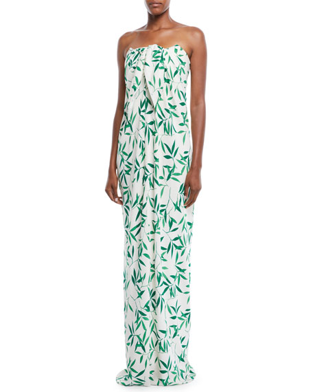 Caroline Constas Kaia Striped Ruffle Popover Maxi Dress
