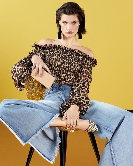 Damaris Leopard-Print Off-the-Shoulder Top