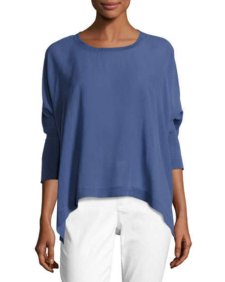 Petite Sheer Round-Neck Silk Georgette Top