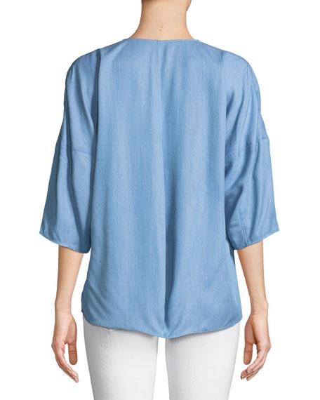 V-Neck 3/4-Sleeve Chambray Top