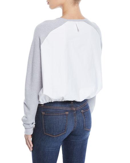 Tibi Merino Wool Poplin-Back Pullover Sweater