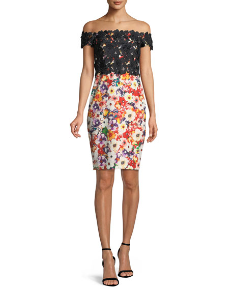 Badgley Mischka Floral Off-the-Shoulder Dress w/ Lace Top