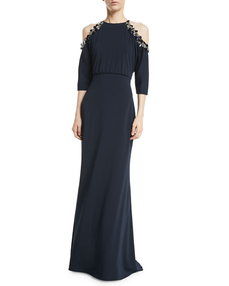 Badgley Mischka Embellished Cold-Shoulder 3/4-Sleeve Blouson Gown