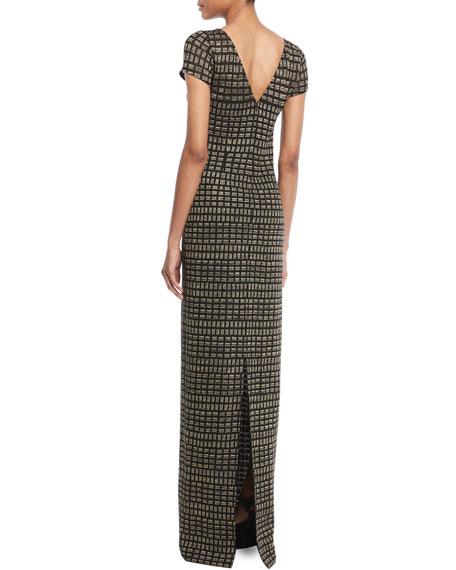 Shimmer Rectangle Jacquard Column Gown