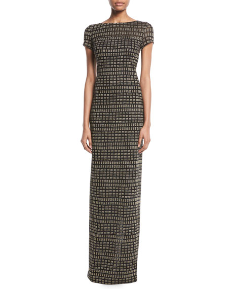 St. John Collection Shimmer Rectangle Jacquard Column Gown