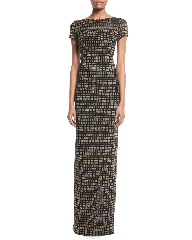 St. John Collection Shimmer Rectangle Jacquard Column Gown   Neiman ...