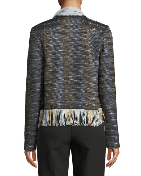 Inlaid Ribbon Knit Fringe-Hem Jacket