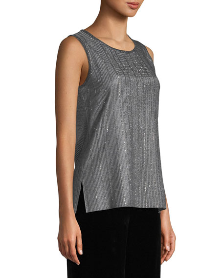 St. John Collection Metallic Plaited Knit Shell Top with Sequins