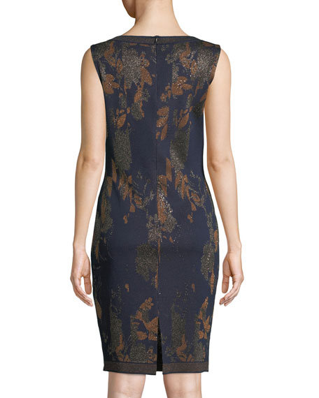 St. John Collection Leafed Copper Jacquard Knit Cocktail Dress