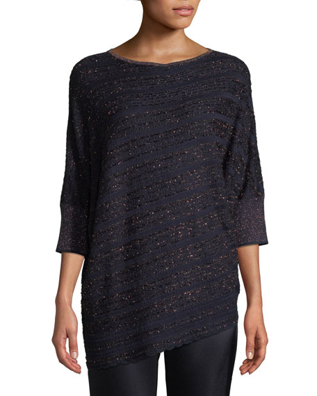 St. John Collection Copper Lace Knit Asymmetric Sweater