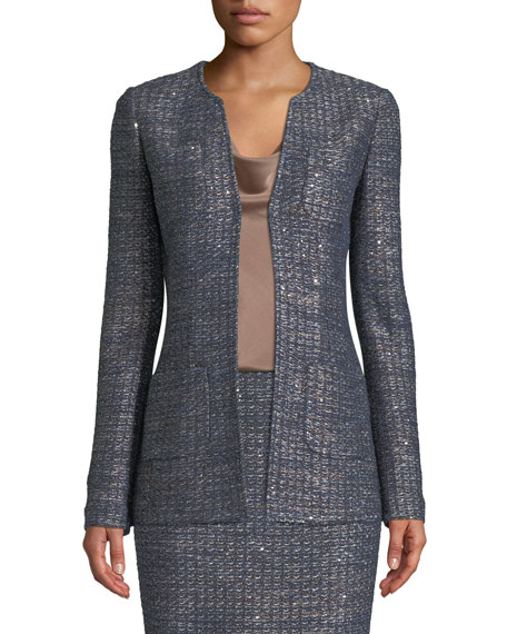 Copper Sequin Tweed Knit Jacket, Blue Pattern