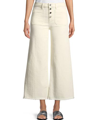 Carmine Button-Fly Wide-Leg Jeans with Raw-Edge Hem