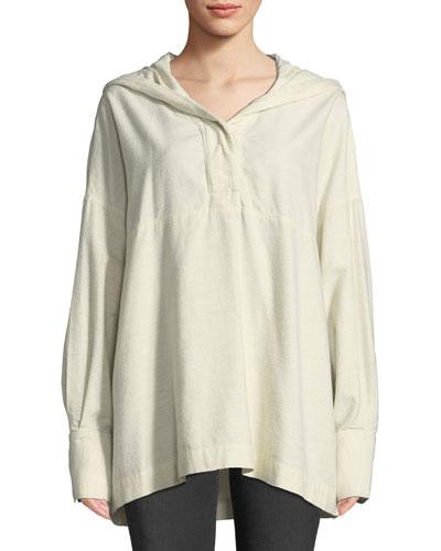 Cortlandt Hooded Long-Sleeve Top