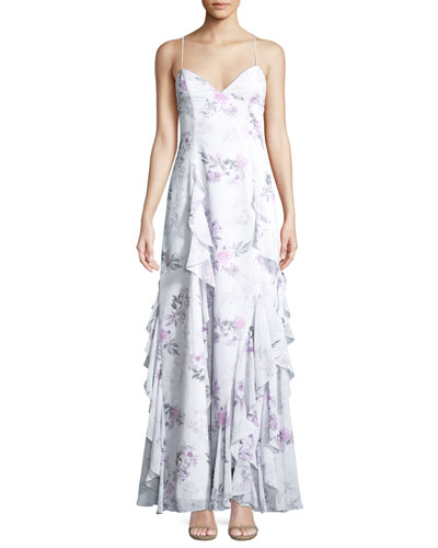 The Nav Ruffled Floral Sleeveless Gown