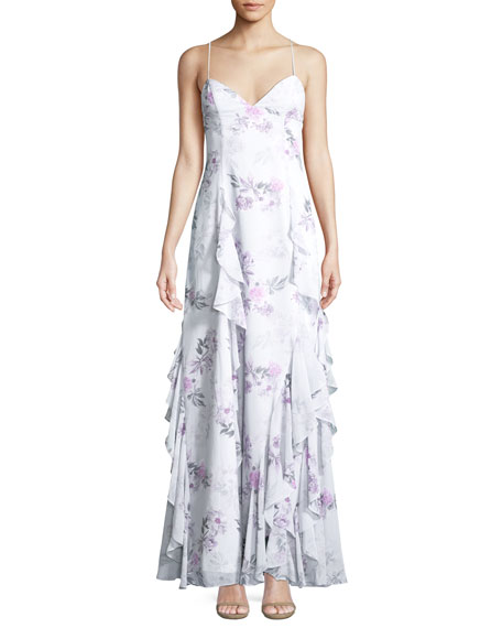 Fame and Partners The Nav Ruffled Floral Sleeveless