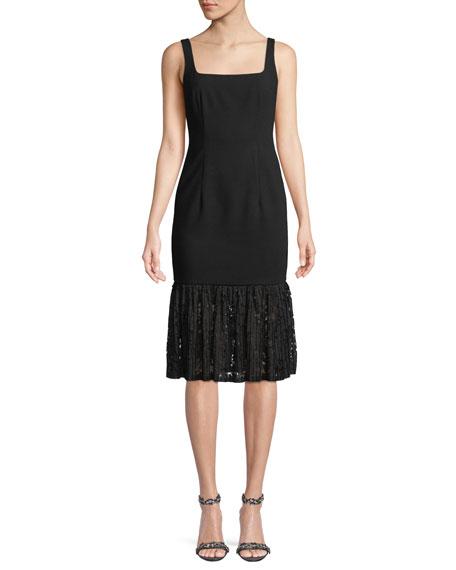 Black Halo Arabelle Square-Neck Dress w/ Lace Ruffle