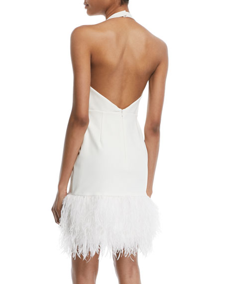 Amy Feather-Hem Halter Cocktail Dress