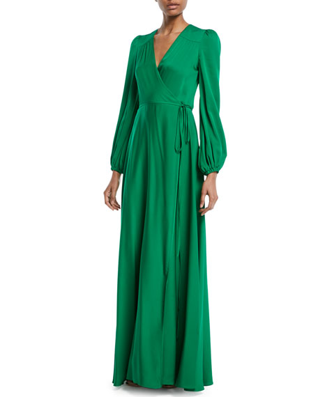 Milly Gina Long-Sleeve Silk Wrap Gown