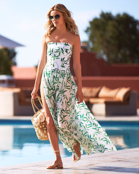 Marianna Strapless Leaf-Print Coverup Maxi Dress