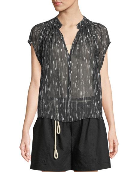 Brushstroke Flutter-Sleeve Silk Top