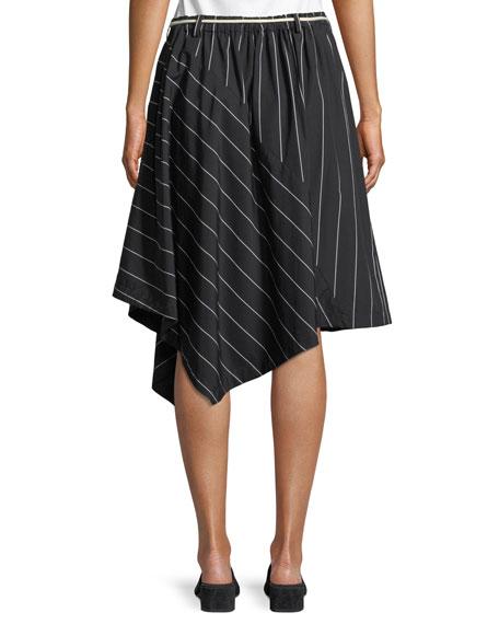 Striped Asymmetric Rope-Tie Skirt
