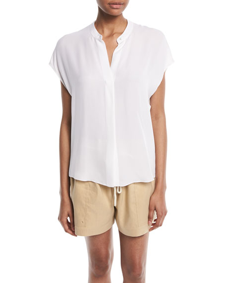 Vince Silk Split-Back Short-Sleeve Popover Top and Matching