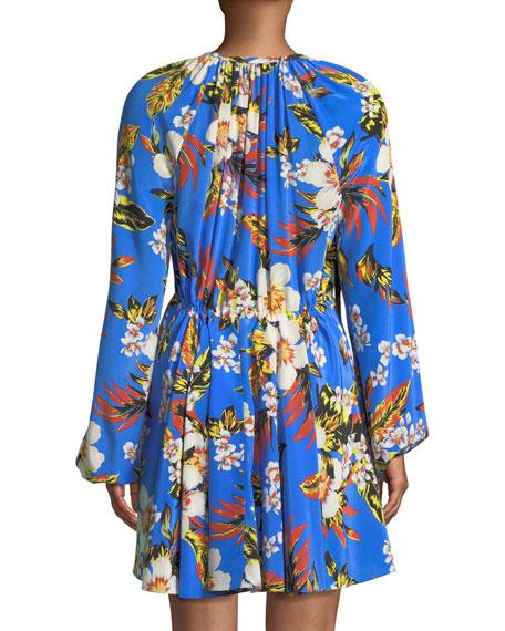 Floral Silk Cinch-Sleeve Mini Dress
